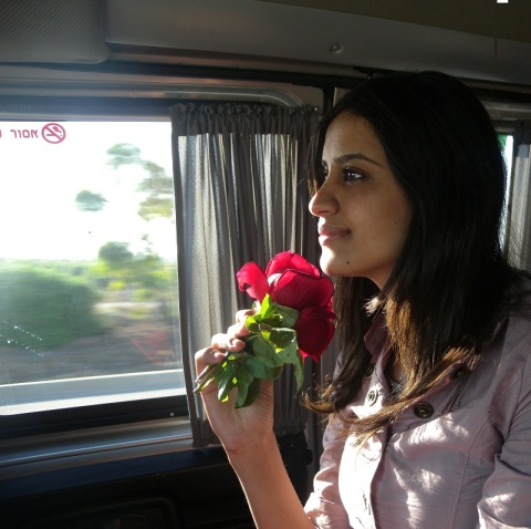 As I got inside the bus after picking two flowers planted in Jerusalem's soil