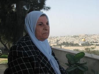 A photo of Um Jihad al-Obeidi, taken from her balcony that overlooks the Old City of Jerusalem (Amjad Abu Asab)