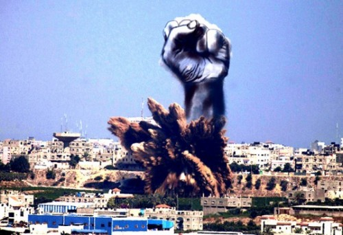 A Palestinian artist adds a creative touch on the pillars of smoke caused by the Israeli bombings in Gaza.