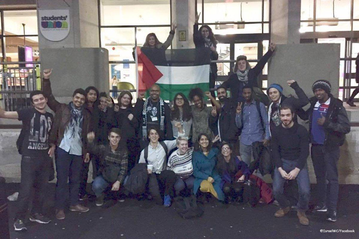 University of Mancester BDS campaigners celebrating passing the BDS motion.