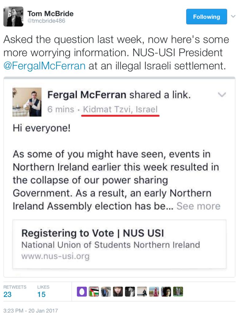 screenshots of NUS-USI President Fergam McFerran's Facebook post on 20 Jan 2017 revealing his presence in an Israeli illegal settlement